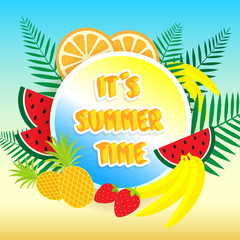 It's summer time banner with fruits