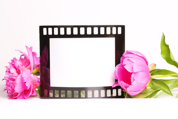 Photo Frame Decorated with Pink Flowers