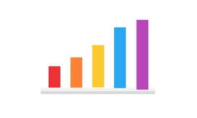 3D chart graph. 3d bar chart on white background.