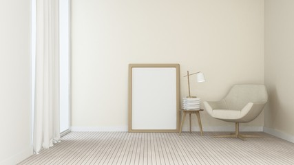 The interior minimal living space in condominium - 3D Rendering
