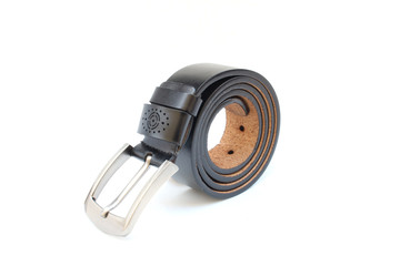 black belt leather on isolated