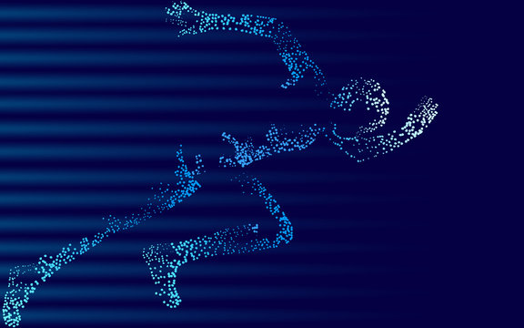 Fast impetuous running sportsman. Man run high speed sport achievement. Silhouette sprinter background. Design runner dark blue vector illustration