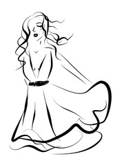 Beautiful woman in a dress on white background, hand drawn sketch illustration