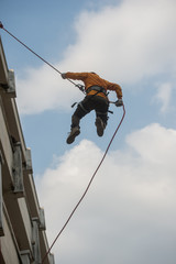 firefighter training for high climbing from the building