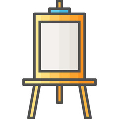 Simple artistic and hobby Vector Flat Icon. Drawing easel for painting. Flat style icon. 48x48 Pixel Perfect.