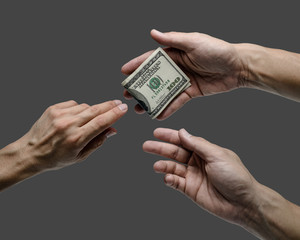 one hand offer one hundred dollar bill to others isolated