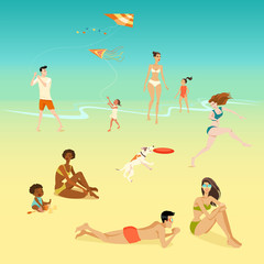 Illustration of people relaxing on the beach.Funny characters in the cartoon style.
