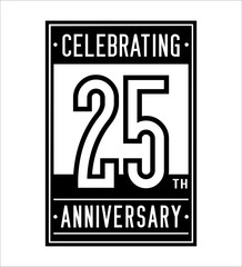 25 years anniversary design template. Vector and illustration.