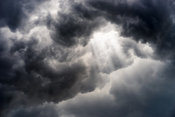 Photo sur cadre textile Tempete rain cloud, storm cloud before a thunder storm Background