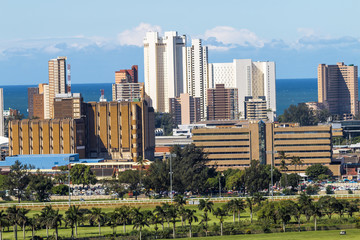 Blue Cloudy City Skyline in Durban South Africa