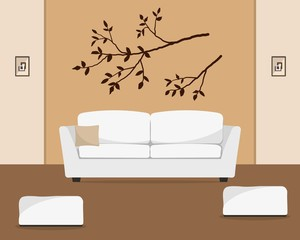 Beige living room with a white sofa and armchairs. There is also a branch of a tree on the wall in the picture. Vector flat illustration.