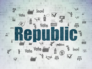 Political concept: Republic on Digital Data Paper background
