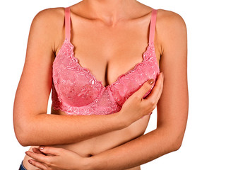 Self examination of women breast cancer. Female wear transparent lace bra. Girl with breasts on white background. She removes one strap bra with shoulder. Advertises beautiful underwear.