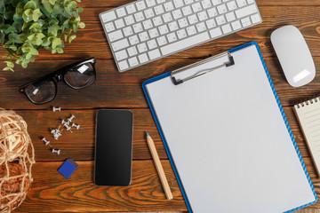 Modern working business desk with keyboard