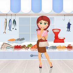 woman buy fresh fish