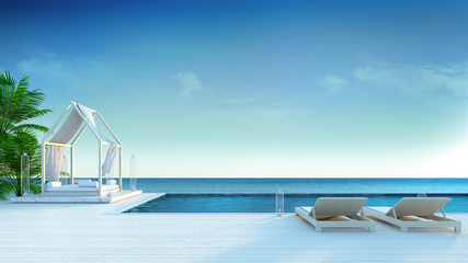 beach lounge , sun lonugers on Sunbathing deck and private swimming pool with  panoramic sea view at luxury villa/3d rendering