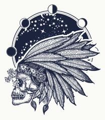 Native American indian feather headdress with human skull t-shirt design. Indian skull tattoo art. Warrior symbol
