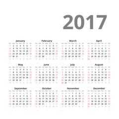 Calendar 2017 year. Vector design template. Week starts from sunday.
