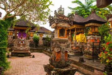 Balinese door facade of temple. Ubud. Bali.