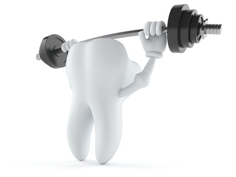 Tooth character lifting heavy barbell