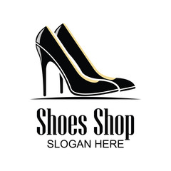 shoes store, shoes shop logo with text space for your slogan / tag line for fashion business. vector illustration