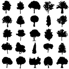 set of black silhouette trees vector - ecology concept