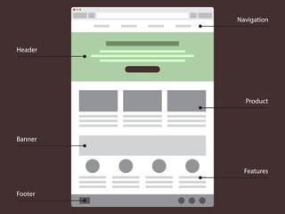 Vector flat web site template.