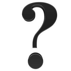 question mark 3d icon sign black isolated on white background rendered in high resolution for business presentations print and internet