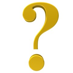 question mark 3d sign icon gold and yellow symbol isolated on white background render in high resolution for business presentation print and internet