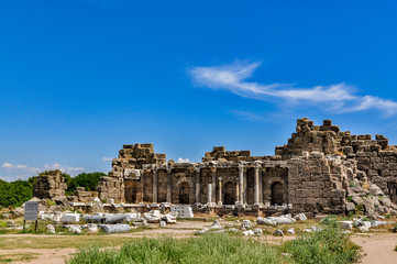 Ruins of an ancient library in Side, Antalya province, Turkey