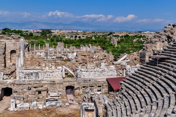Ruins of the ancient theater in Side, Turkey