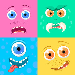Set Of Cartoon Monster Faces With Different Expression Of Emotions. Bright  Emotional Avatar Collection.