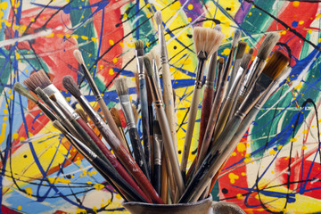 Much used artists paint brushes