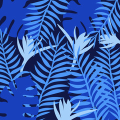Blue tropical leaves pattern. Vector illustration.