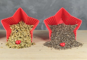 Chia and hemp seeds/ This is a chia and hemp seeds in red star bowl.