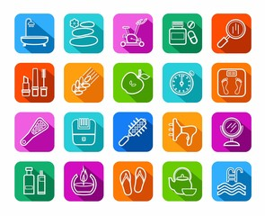 Beauty and health, icons, line, color, vector. Care for body and face. The white contour icons on color background with a shadow. Flat, vector clip art.