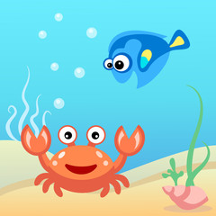 Water world: crab and fish.