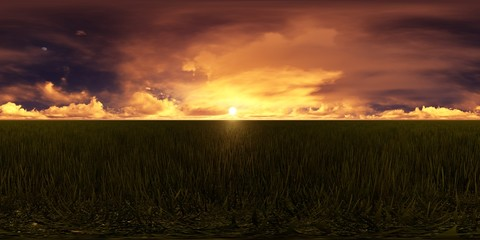 3d rendering of a dark sky with golden sunset in a field