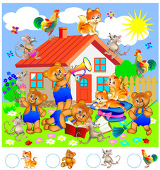 Educational page for young children. Need to count the animals and write corresponding numbers in the circles. Vector image.