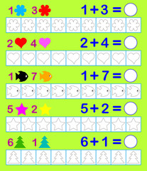 Mathematical worksheet for children on addition. Need to paint corresponding number of objects in indicated colors and solve examples. Vector image.