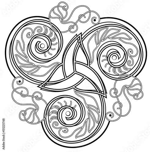 Celtic disk ornament with triple spiral symbol, black and