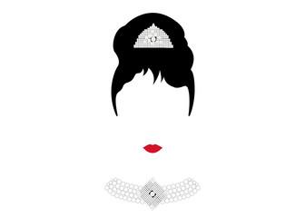 portrait retrò woman, diva with Pearl jewelry, minimal Audrey vector illustration