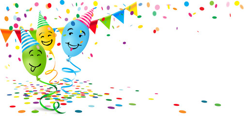 Party scenery with confetti and smiling balloons celebrating