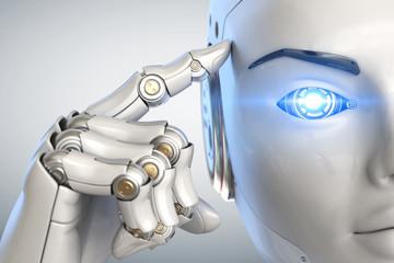 Thinking cyborg. Close up