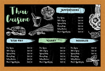 Hand drawn Thai food and herbs on a chalk board, vector