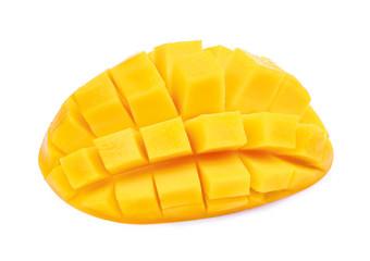 slice fresh mango isolated on white background