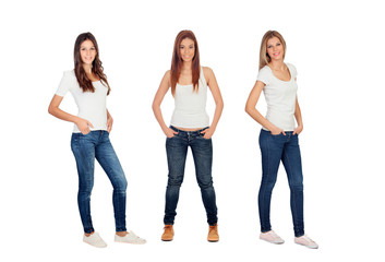Full portrait of three casual girls with jeans and white tshirts