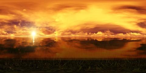 dark sky with golden sunset over the ocean