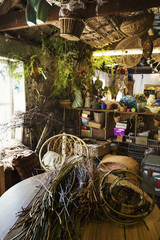 Interior view of a basket weaver's workshop.
