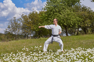 With a black belt, an athlete strikes with a hand while standing on the green grass